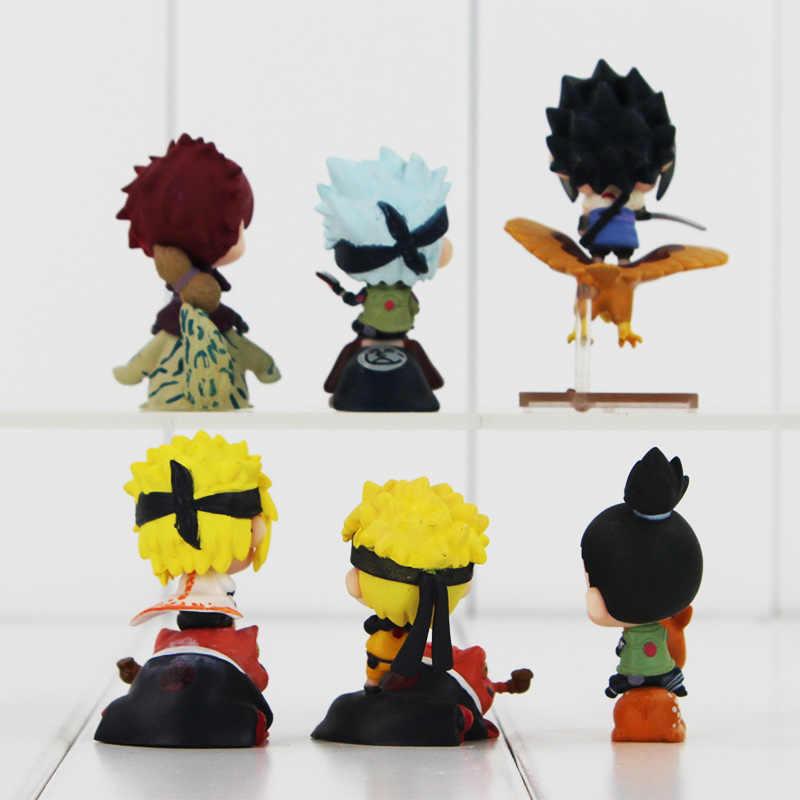 Wysokiej jakości Naruto zabawki 6 sztuk/zestaw Q wersja Uzumaki Naruto Kakashi Sasuke Nara Shikamaru jazdy Bijuu PVC rysunek zabawki