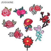 ZOTOONE Rose Patch Flower Patches Diy Stickers Iron on Clothes Heat Transfer Applique Embroidered Applications Cloth Fabric G