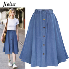 Jielur Buttons Harajuku Denim Skirts Streetwear Ladies Slim High Waist Women Skirt Jeans All-match Loose Blue A Line Saia Midi