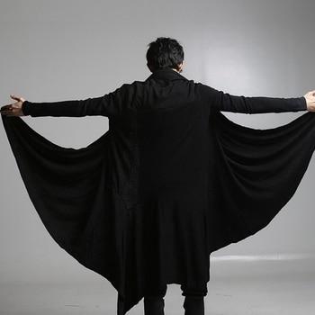 Black Long Cardigan | New Fashion Men Irregular Black Gown Hip Hop Mantle Cardigan Outerwear Personalized Novelty Long Cape Cloak Halloween Costumes