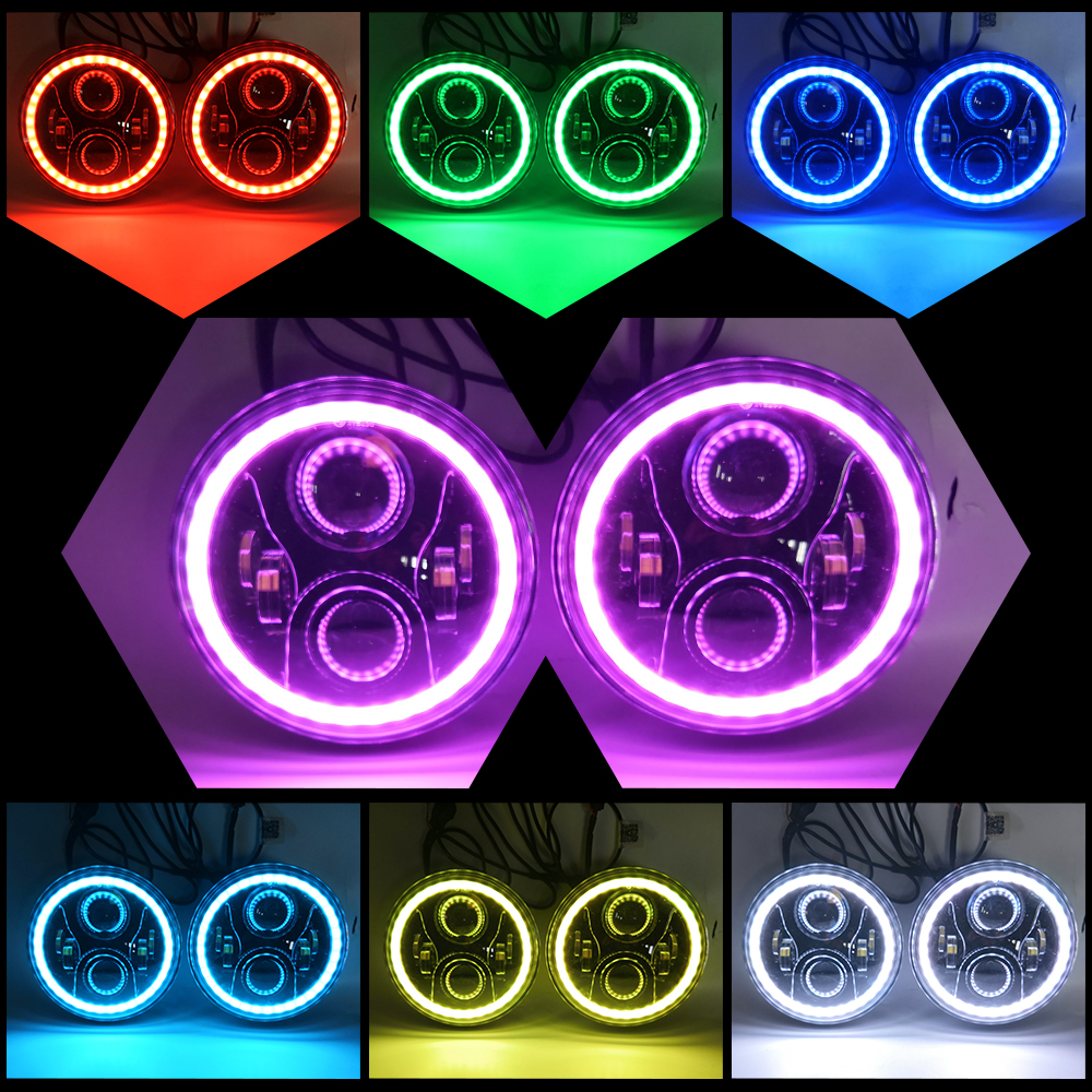 COLIGHT 7 LED Headlight Led 12V RGB Angel Eyes Hi/Lo DRL Bluetooth Driving Lights for Lada Niva Jeep Wrangler Hummer Offroad led headlight lights angel eyes