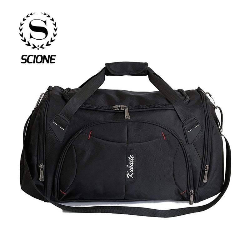 Scione Unisex Classic Travel Handbag Large Capacity Luggage Shoulder Bags Waterproof Solid Duffel Casual Crossbody Cabin Pack