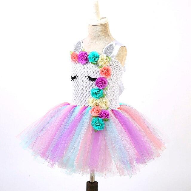 ef4636cf7bb4e Sliver Pastel Girl Unicorn Birthday Party Tutu Dress With Matching Headband  Flowers Girls Pony Unicorn Theme Halloween Costume