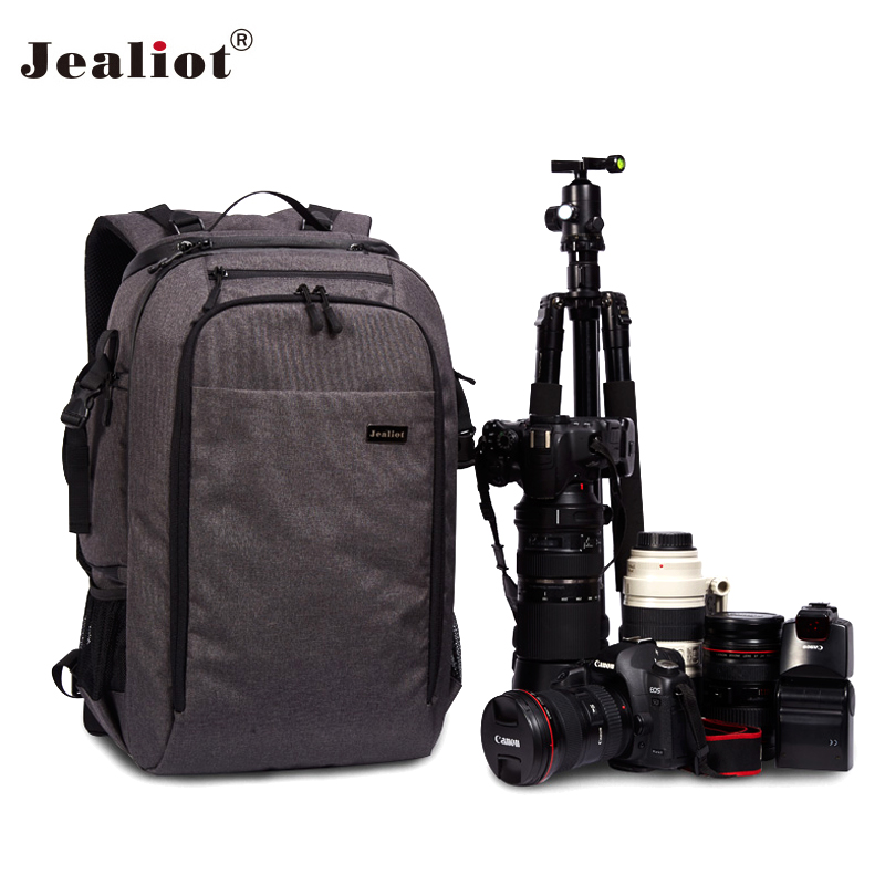2017 Jealiot Camera Bag laptop Backpack digital camera DSLR Travel bag waterproof Video Photo case for Canon Nikon Free shipping sinpaid anti theft digital dslr photo padded camera backpack with rain cover waterproof laptop 15 6 soft bag video case 50