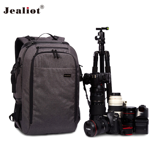 d33a282253a6 2018 Jealiot Camera Bag laptop Backpack digital camera DSLR Travel bag  waterproof Video Photo case for Canon Nikon Free shipping