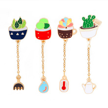 2017 Clothing accessories carnalidade cactus flowerpots pins with pin badge enamel brooch set chain s party