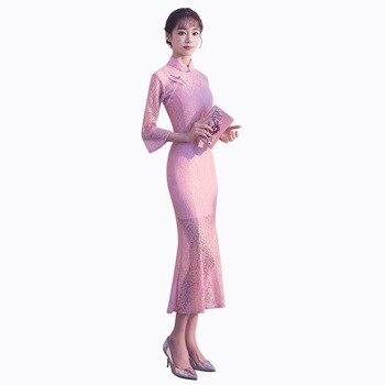 67be07e235a Новое поступление китайский для женщин Элегантный кружево короткие леди  Qipao ручной работы Кнопка Cheongsam сексуальное платье костюмы размеры