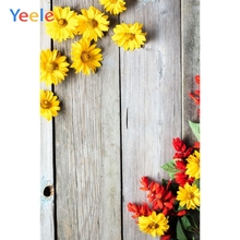 Yeele Yellow Flowers Photographic Backgrounds Old Wood Planks Floral Photography Backdrops Personalized For The Photo Studio