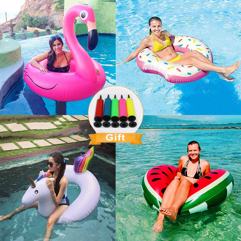 Summer Inflatable Swimming Circle Swimming Ring Flamingo Pool Float Diamond Watermelon Swim Pool Water Floating Party Toys