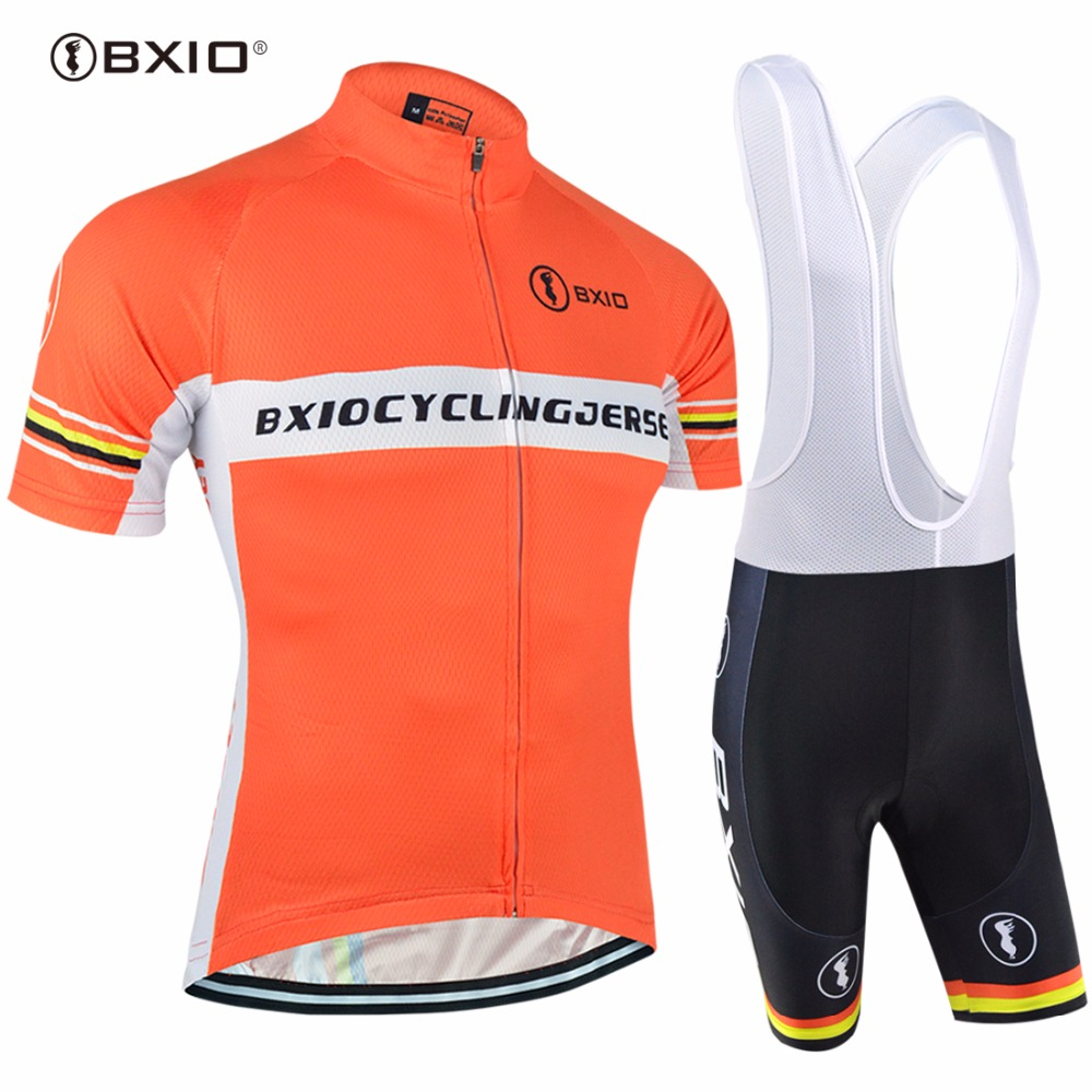BXIO Brand Cycling Jersey Set Cool Bicycle Clothing Summer Ropa De Ciclismo Sport Jersey Orange Road Cycle Clothes BX-0209O-033