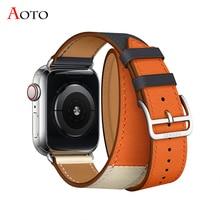 Pulseira de couro para a apple watch 4 40mm 44mm Extra Longas Faixas de Couro Dupla Alça Turnê apple watch 38mm 42mm das mulheres iwatch 3 2