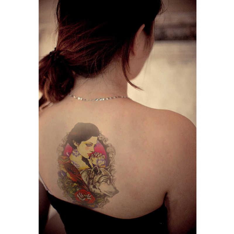 1 pc impermeable belleza dibujo de lobo temporal tatuaje manga del brazo del cuerpo tatuaje para hombro tatuajes