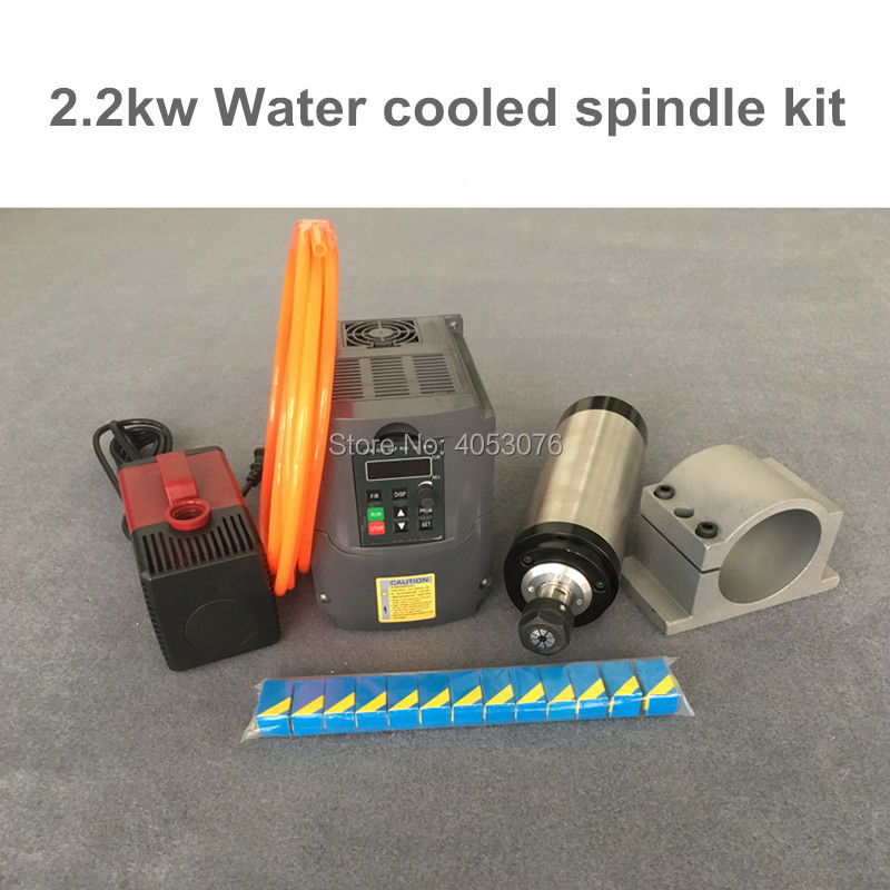 Water Cooled Spindle Kit 2.2KW CNC Milling Spindle Motor + 2.2KW VFD + 80mm clamp + water pump/pipe +13pcs ER20 for CNC