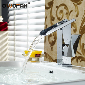Modern Bathroom Waterfall Basin Faucets Chrome Finish Single Holder Single Holel Faucet Sink Hot and Cold Water Taps  LT-515