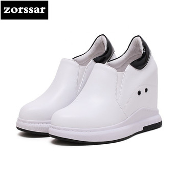 {Zorssar} 2018 New Genuine Leather casual womens shoes pumps Slip-on increased internal High heels shoes women platform shoes