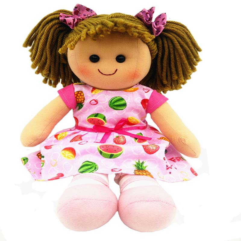 Smafes soft rag dolls toy for girls 15inch pink cotton doll for baby born with cloth bir ...