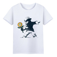 Men S Funny Banksy Art Kid Throw The Candy Design T Shirts Unisex Soft White Fitness