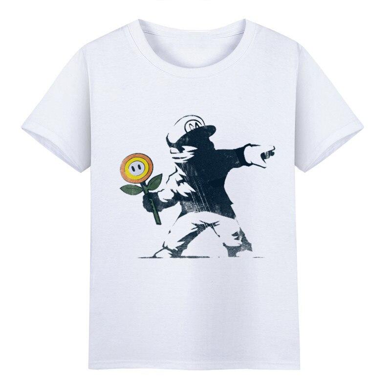 Mens Funny Banksy Art Kid Throw The Candy Design T shirts Unisex Soft White Fitness Tops Tee Men Manga Print Tee Shirts