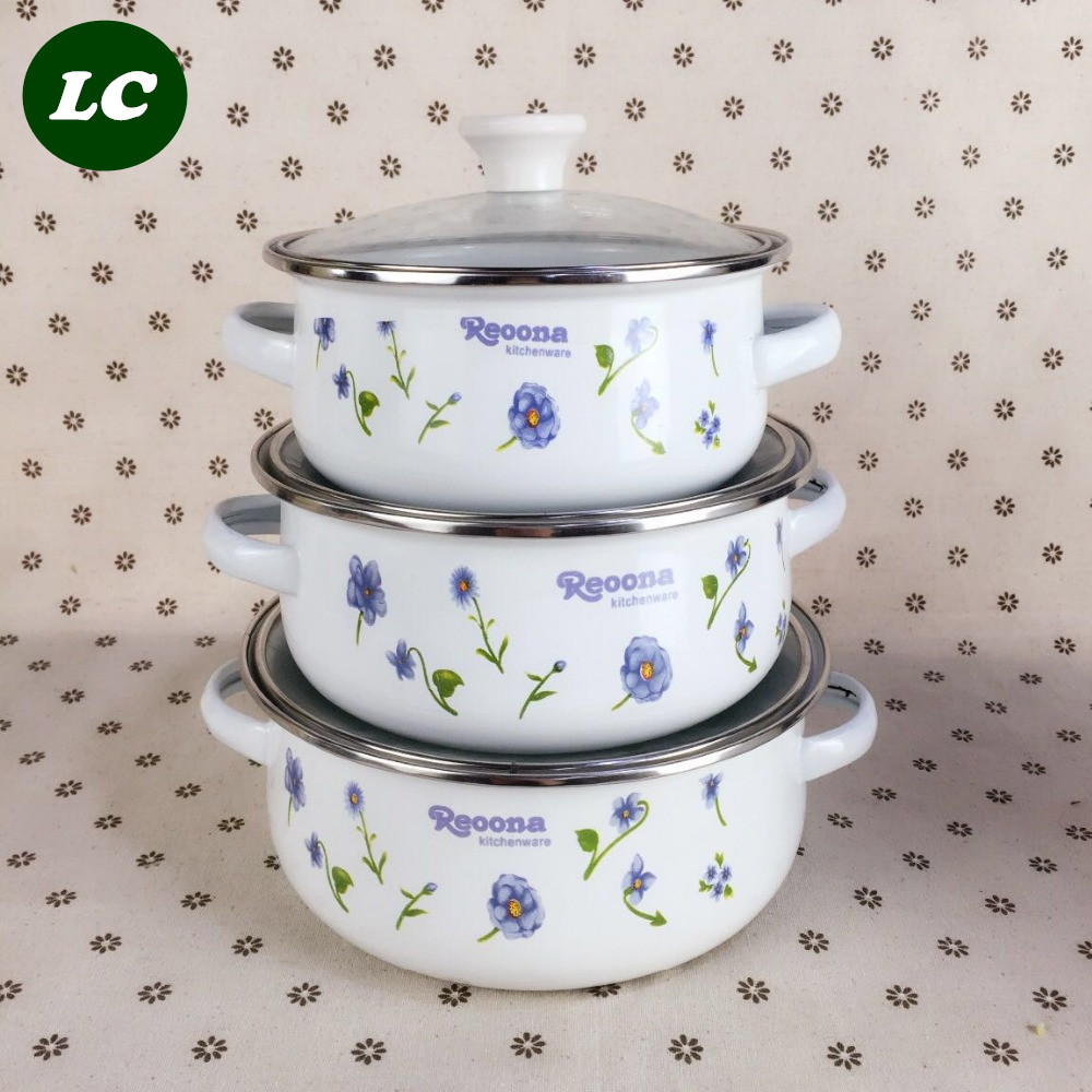 ᓂfree shipping cooking tools enamel casserole pots set mini kitchen ...