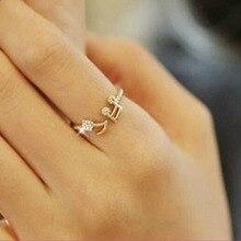 Нота музыкальная midi rhinestone регулируемые отверстия кольца симпатичные изделия ювелирные женщин