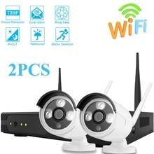 Наблюдения Системы 720 P 2CH Wi-Fi видеонаблюдения Системы комплект видеонаблюдения H.265 Водонепроницаемый дома беспроводная камера безопасности NVR Wi-Fi