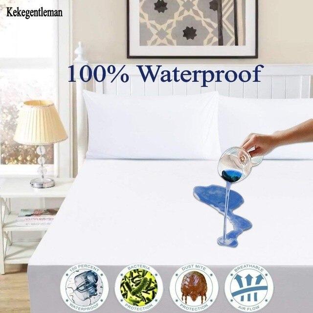 blanc 100 etanche matelas couverture lisse polyester housse de matelas protecteur antibacterien couverture de lit