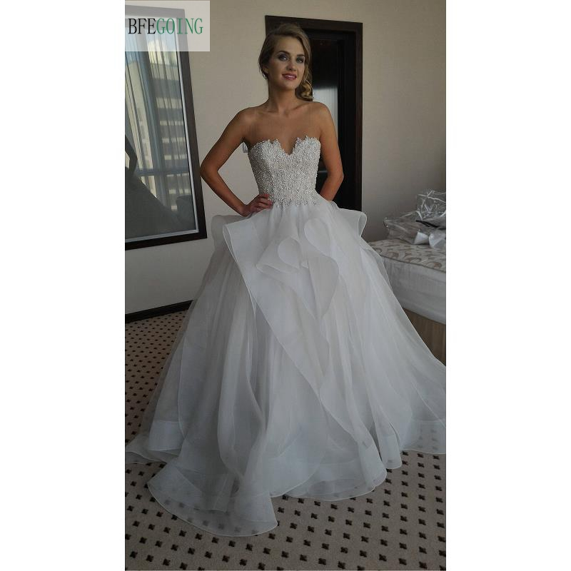 White Lace Organza Beading Floor Length Sweetheart A line Wedding dresses Strapless Sleeveless Bridal Gown Custom