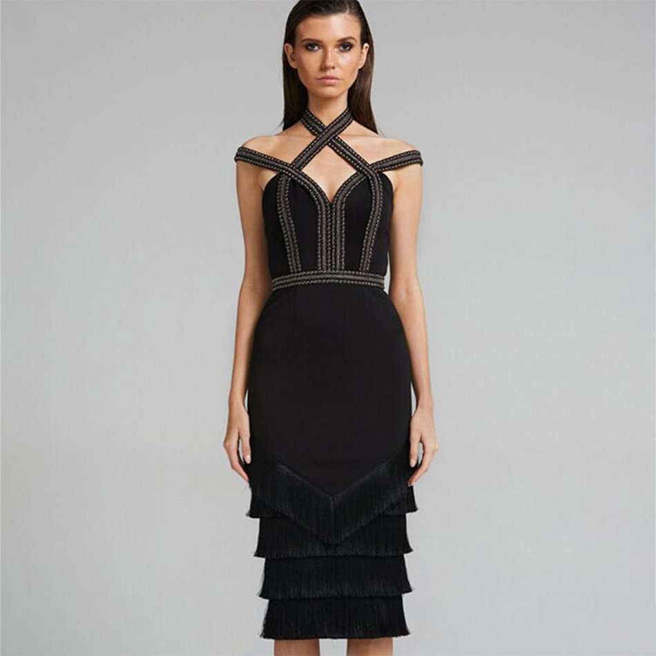 Partie Robes Noir Robe Moulante Celebrity cou Strap Nouveau Soirée V 2018 Spaghetti Bandage Gland Printemps Sexy Femmes xFwqqZaB