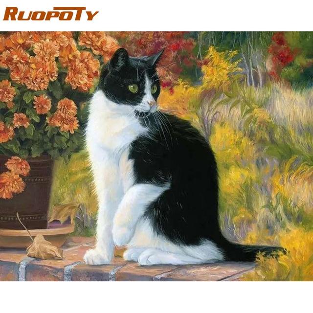 RUOPOT diy marco del gato animales DIY pintura por números arte de ...