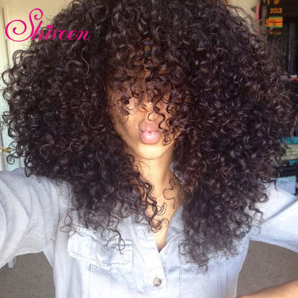 Shireen Malaysian Afro Kinky Curly Hair Bundles 4 Bundle Deals Natural Color 100% Curly Weave Extensions Remy Human Hair Bundles(China)