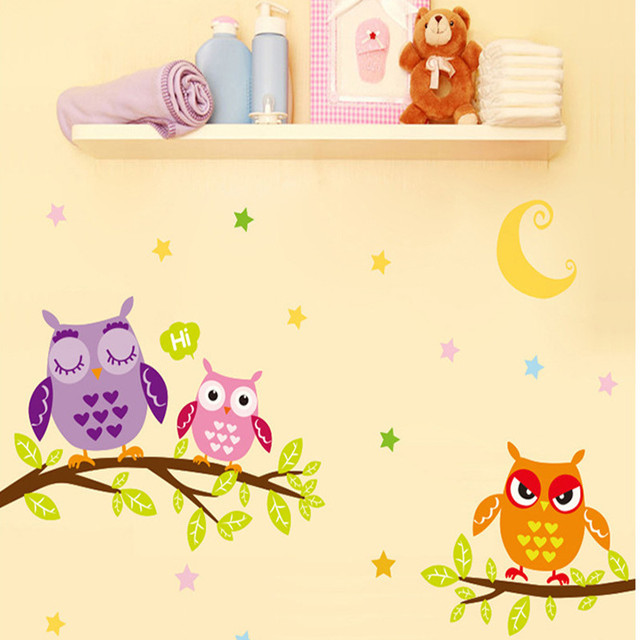 Cute Owls Wall Stickers for Kids Children Bedroom Room Decoration ...