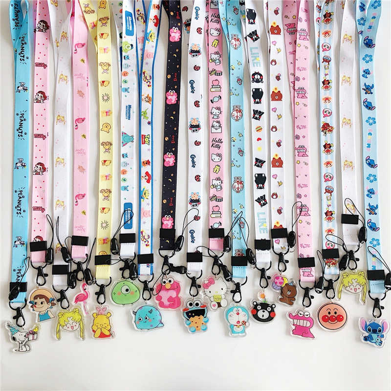 Cute Cartoon keychain Strap Neck straps Lanyards for keys ID Card Pass Gym Mobile Phone USB badge holder DIY Hang Rope Sling