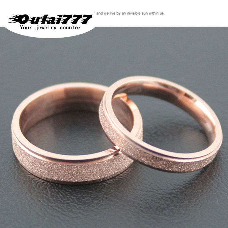 oulai777 2019 stainless steel wedding accesories Couple Scrub Gypsophila Rose gold mens rings for men wholesale male  woman