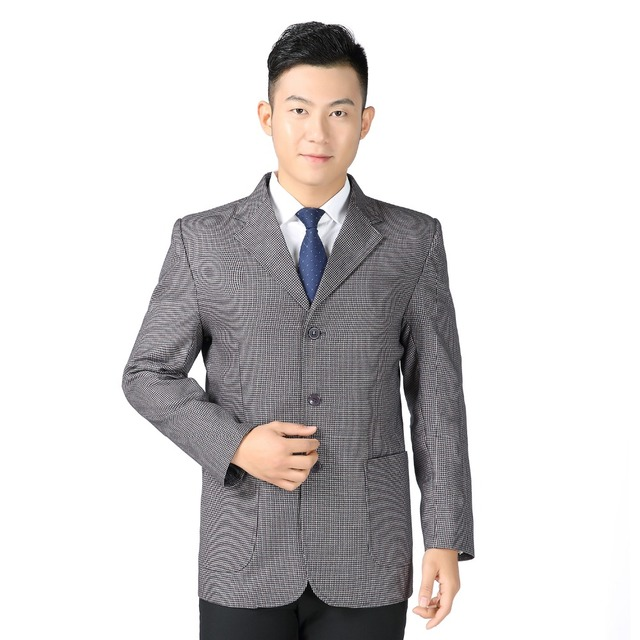 WAEOLSA Men Casual Blazers Gray Khaki Jacket Suits Man Small Check Pattern Blazer Male Single Breasted Jackets Suits Outfits 3XL