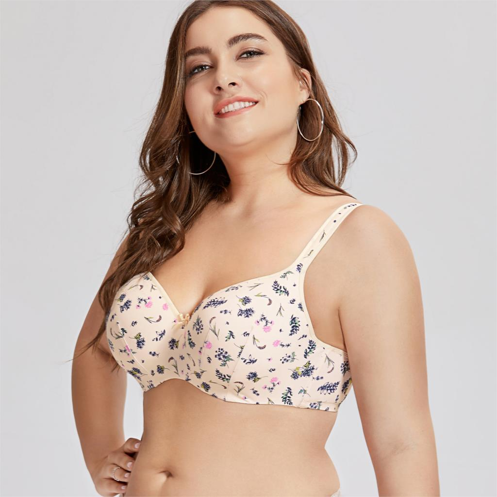 Women's Balconette Full Figure Underwire Lightly Lined Printed Floral Smooth Contour Bra