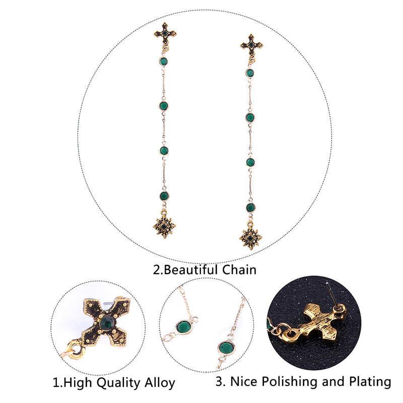 ... Lalynnly Vintage Gold Long Earrings for Women Rhinestone Long Earrings  Cross Earrings with Stones Green Vintage a3fba46541ec