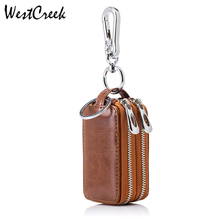 Brand Vintage Car Key Holder Smart Housekeeper Real Cow Split Leather Double Zipper Home Key Case with Transparent Window