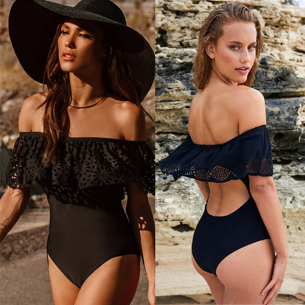 Swimwear Sexy Off The Shoulder Solid Swimwear Women One Piece Swimsuit Female Bathing Suit Ruffle Monokini Swim Wear XL zaful one piece swimsuit ruffle halter swimwear women plunge neck high waist swimsuit micro elastic solid sexy bathing suit