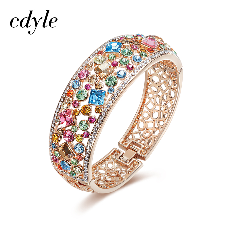 Cdyle Crystals from Swarovski Multicoloured Rhinestone Paved Bijoux Women Rose Gold Bracelets Bangles Engagement Jewelry Gift cdyle crystals from swarovski bracelets women bracelet for women bangle austrian rhinestone fashion jewelry original design