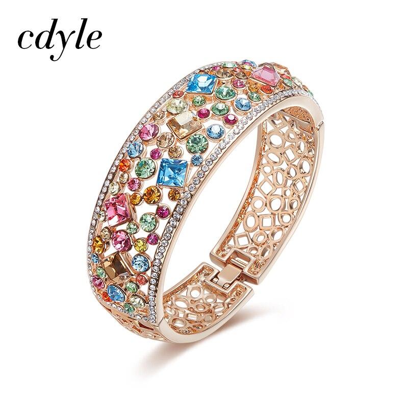 Cdyle Crystals from Swarovski Multicoloured Rhinestone Paved Bijoux Women Rose Gold Bracelets Bangles Engagement Jewelry Gift