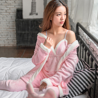 2017 New Warm Robe & Gown Sets Solid Color Soft Sleep & Lounge Flannel Homewear Clothes Camisoles+Coat+Pants Plus Size
