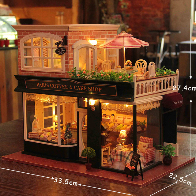 Diy Miniature Wooden Doll House Furniture Kits Toys Handmade Craft Miniature Model Kit DollHouse Toys Gift For Children  A-028