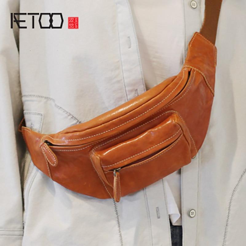 AETOO Chest bag, female leather hundred trendy waist bag, dual-use retro crossbody bagAETOO Chest bag, female leather hundred trendy waist bag, dual-use retro crossbody bag