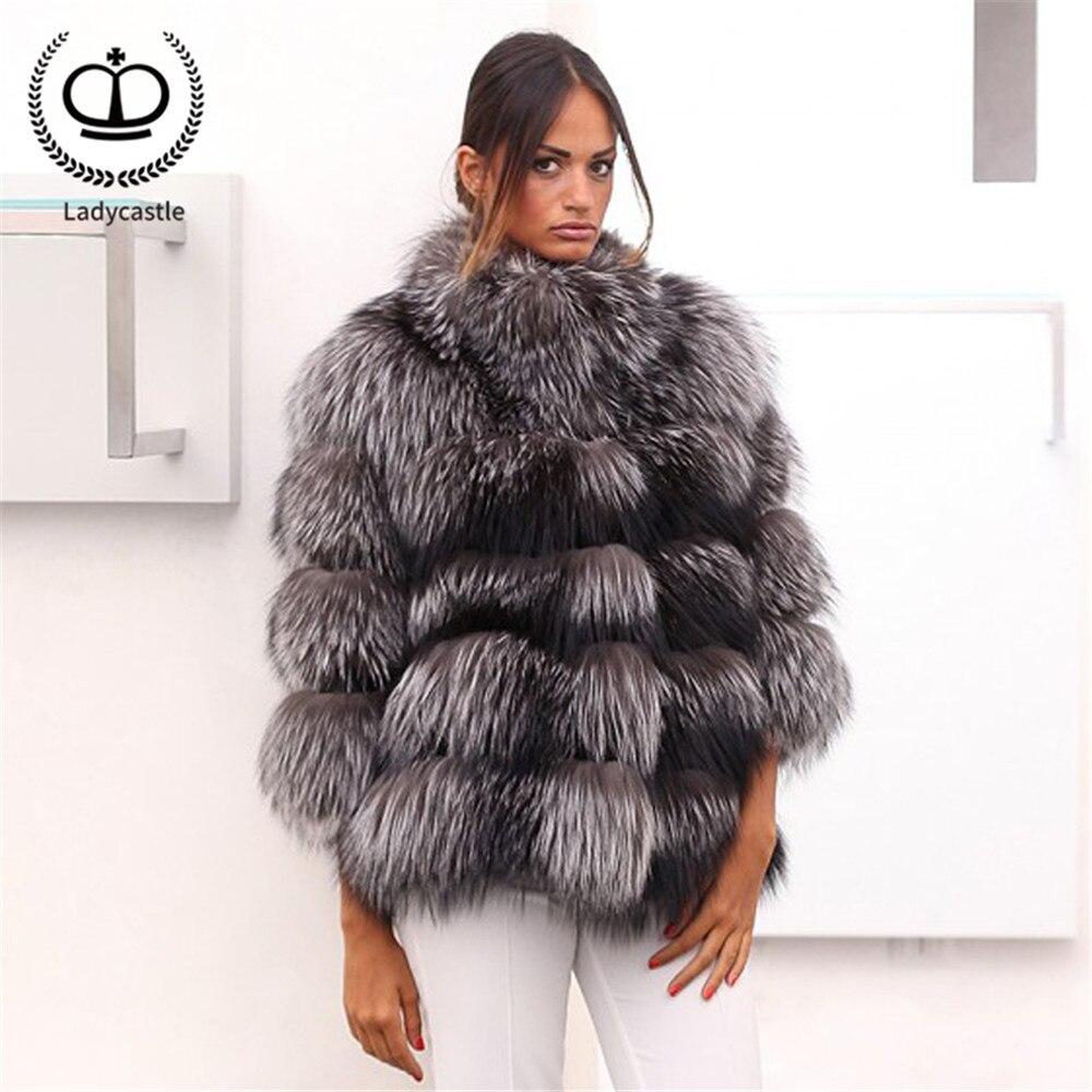 New Natural Real Fur Coat Women Luxury Thick Warm Sliver Fox Fur Jacket Genuine Stand Collar Winter Fashion Fox Fur Coat FC-258