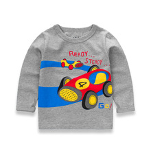2017 New Spring Children's Cartoon T-shirt Cotton Long Sleeved Shirt Car Printed Baby Boys Tees Autumn Boy Motorcycle T Shirts
