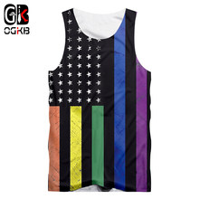 OGKB Colorful Stripe Tank Summer Cool Print American Flag 3D Tank Top For Women/men Hiphop Bodybuilding Fintess Sleeveless Shirt(China)
