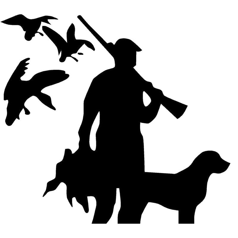14cm*12.8cm Duck Hunting Dog Fashion Vinyl Decals Car Stickers Car-styling Black/Silver S6-3318