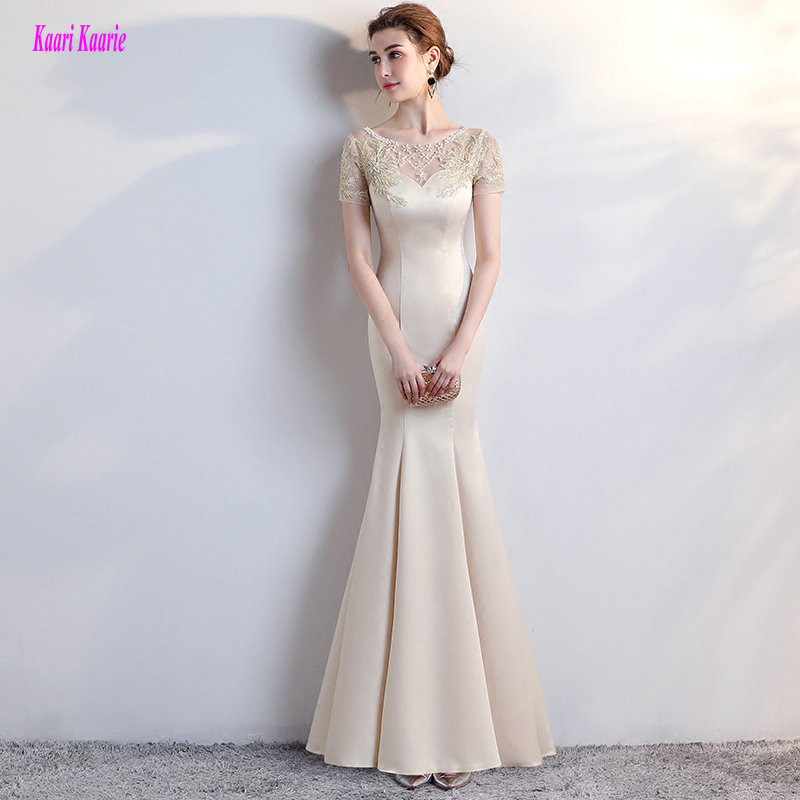 Fashion Champagne Mermaid   Evening     Dresses   Long 2019 Sexy Formal   Evening   Gown Scoop Satin Appliques Beading   Evening   Party   Dress