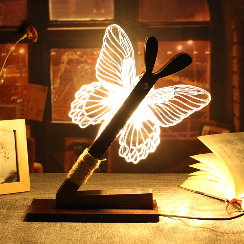 3D LED Desk Lamps Butterfly USB Dimmable Brightness Desk Table Lamp Night Warm Light Adjustable Reading Led Light Gift Decor new arrival t10 led panel desk table light lamp 7w 12v desk lamps reading light sliding touch dimmer desk night light lamps hr