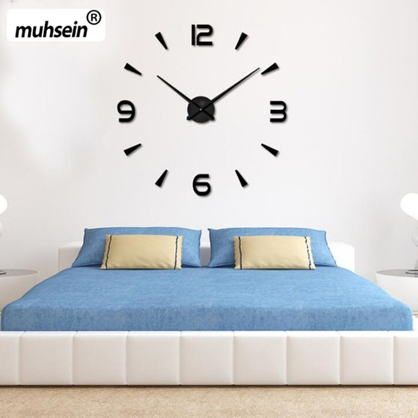 2020 muhsein Super Big DIY Wall Clock Acrylic  Mirror Super Big Wall  Watch Clocks Free Shipping